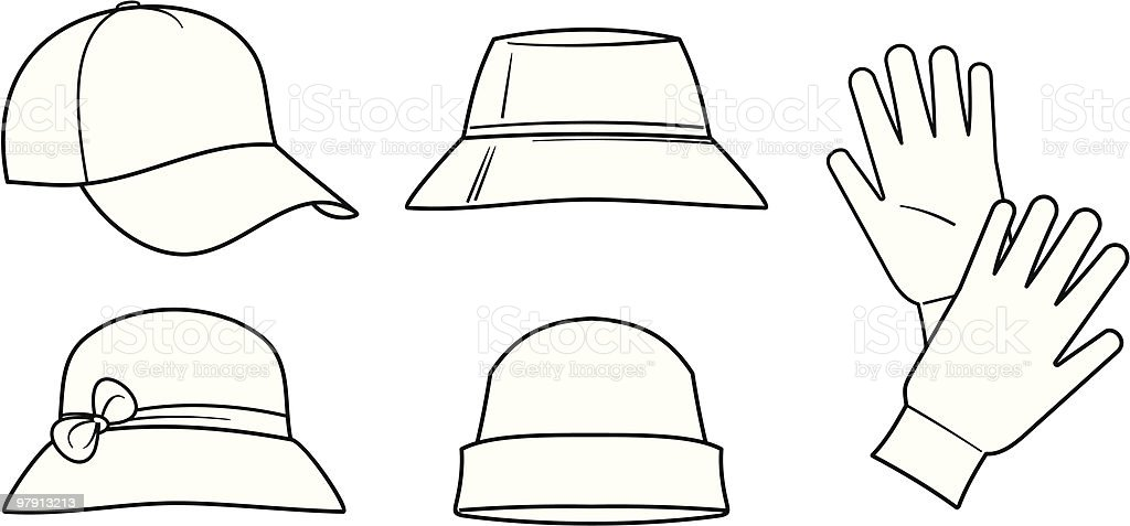 Hats and Gloves - Vector Illustration royalty-free hats and gloves vector illustration stock vector art & more images of baseball cap