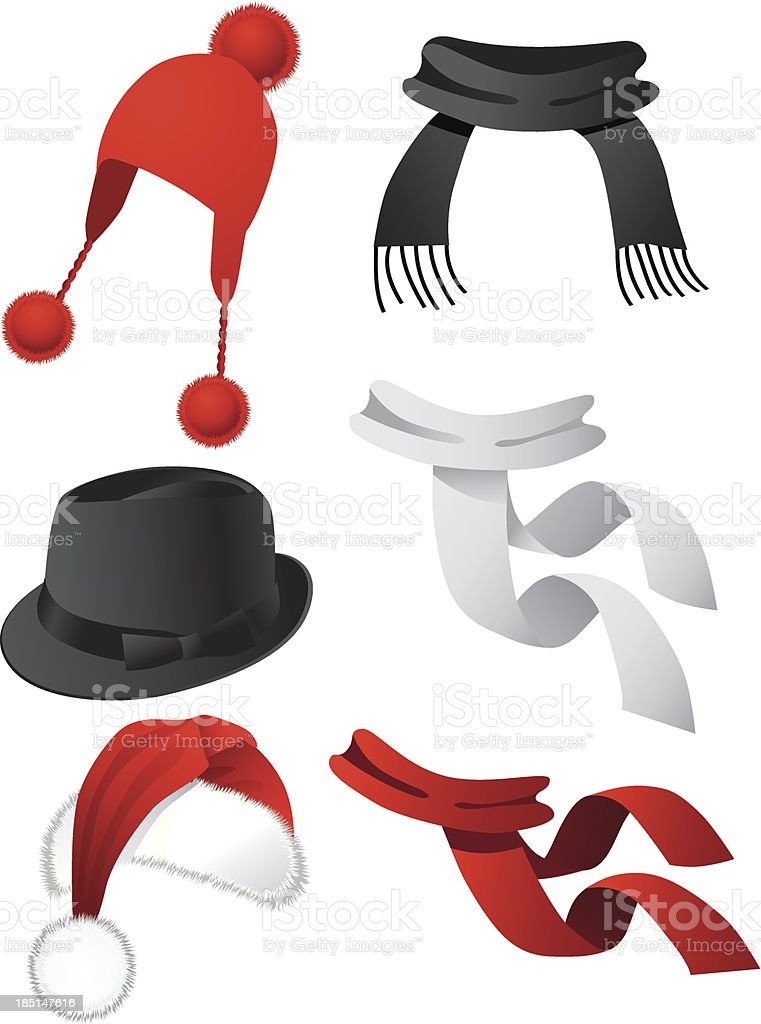 Hats and scarves 2 vector art illustration