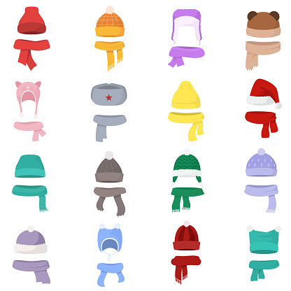 Hats and scarves of various shapes set. Winter clothes. Set hat and scarf in one style.