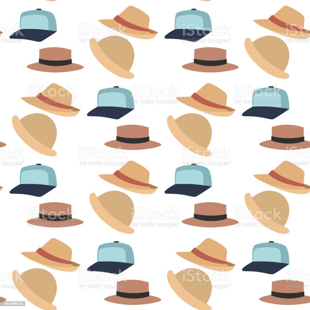 Hats beach accessories summer seamless pattern background vector fashion beach travel beautiful head protection cap vector art illustration