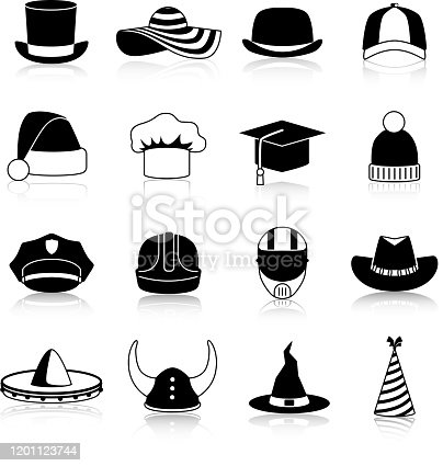 Hats and caps black icons set of motorcycle helmet bowler  baseball cap straw hat halloween and cowboy hats clown and winter sports caps isolated vector illustration