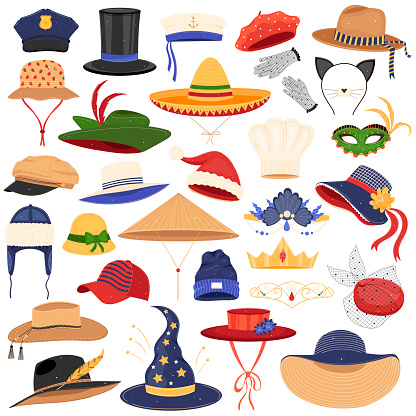 Hats clothes vector illustration set, cartoon flat fashion classic accessory on man woman head collection isolated on white
