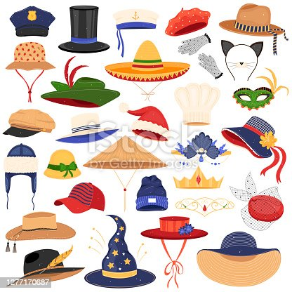 Hats clothes vector illustration set. Cartoon flat fashion accessory on man woman head collection with different profession headwears, fashionable classic headdress, summer hats isolated on white