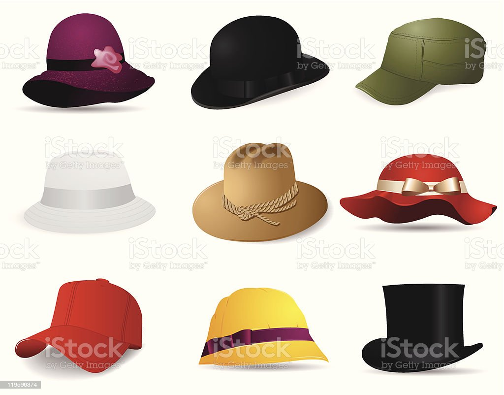 hats collection vector art illustration