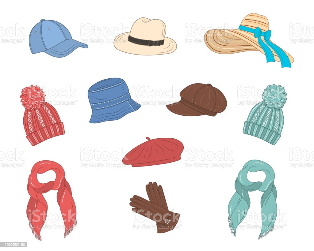 d5ff4f5a Hats collection, vector sketch illustration. royalty-free hats collection  vector sketch illustration stock