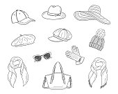 Hats collection, vector sketch illustration. Different types of hats, cap, panama, French beret, knitted winter hat, floppy beach  hat, newsboy cap isolated on white background.