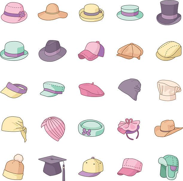 mützen farbe vektor-icons - kopfschmuck stock-grafiken, -clipart, -cartoons und -symbole
