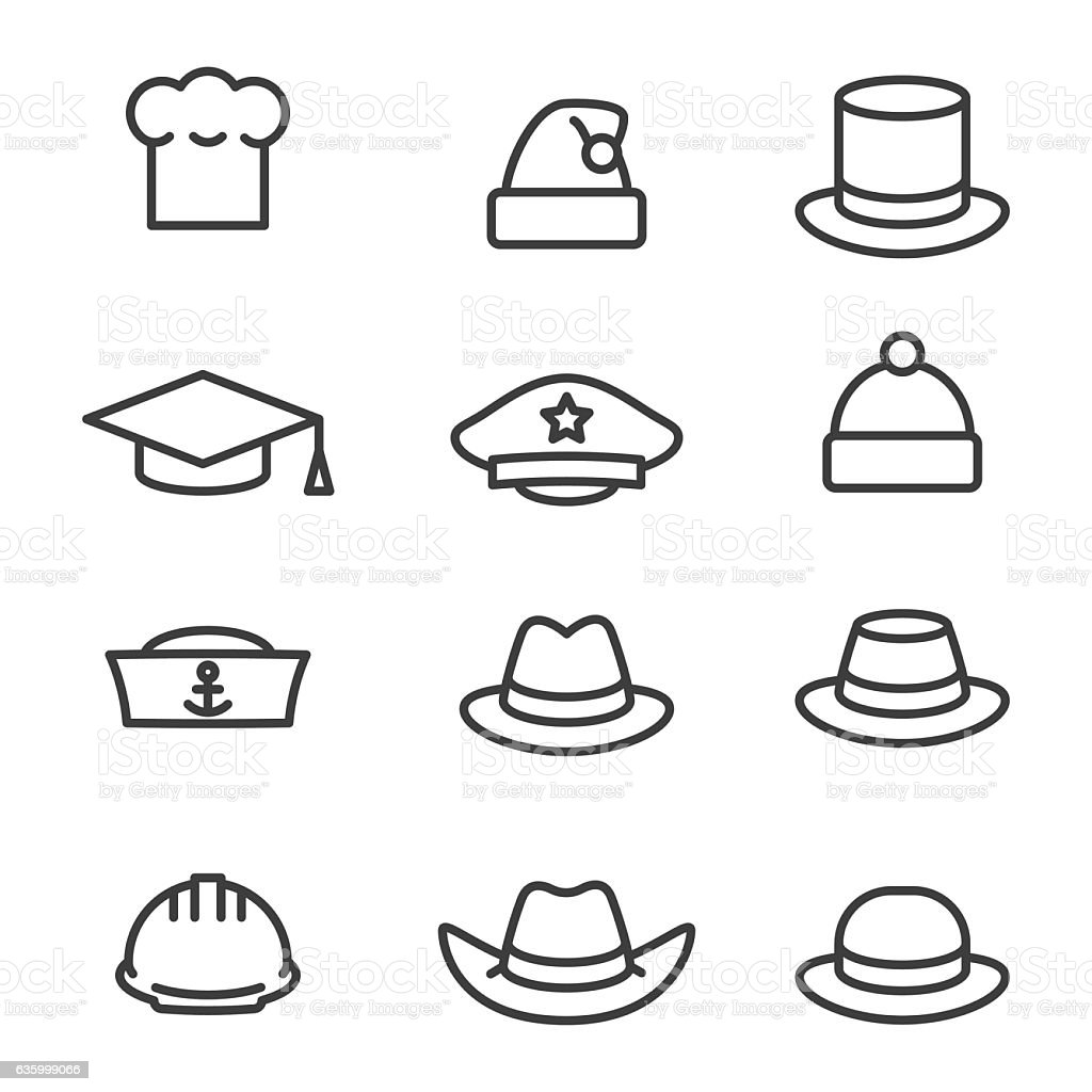 Hats icons set vector art illustration
