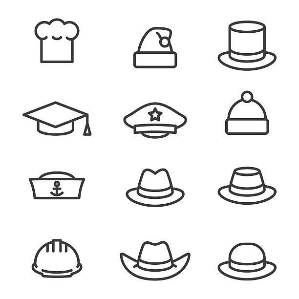 bildbanksillustrationer, clip art samt tecknat material och ikoner med hats icons set - hatt
