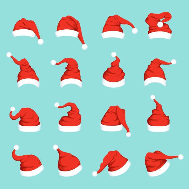 Hats of santa. Big christmas set isolated Hats of santa. Big christmas set isolated. Vector of santa claus hat for christmas holiday illustration santa hat stock illustrations
