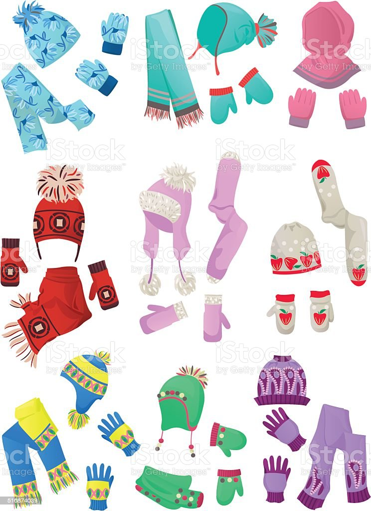 Hats, scarves and mittens for little girls vector art illustration