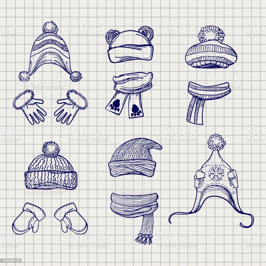 Ilustración de Dibujo De Sombreros Bufandas Y Mitones y más banco de ...