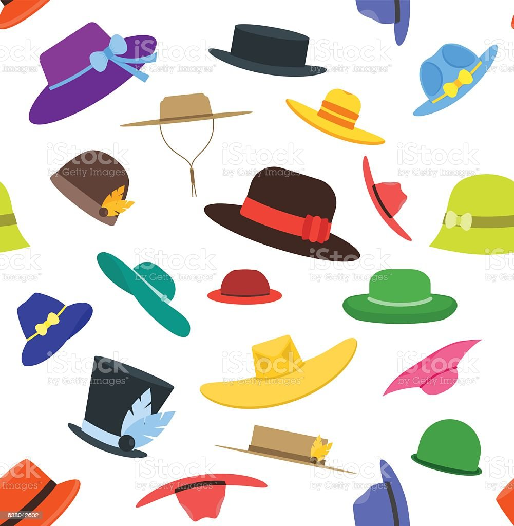 Hats Set Fashion Background Pattern. Vector vector art illustration