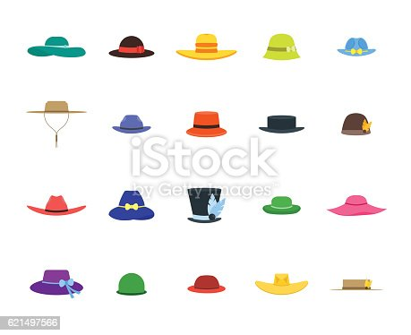 Color Hats Set Fashion for Men and Women. Flat Design Style. Vector illustration