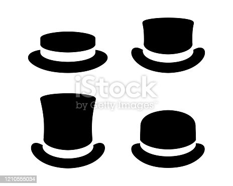 Hats graphic icons set. Boater hat, top hats and bowler hat black signs isolated on white background. Vector illustration