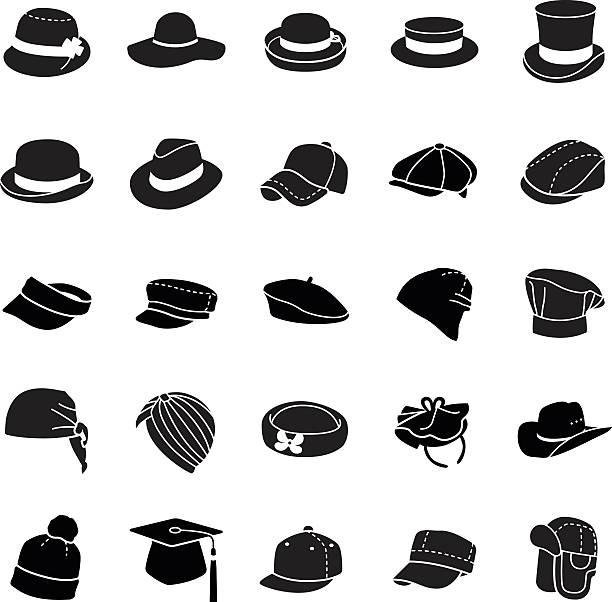 hüte, vektor-icons - zylinder stock-grafiken, -clipart, -cartoons und -symbole