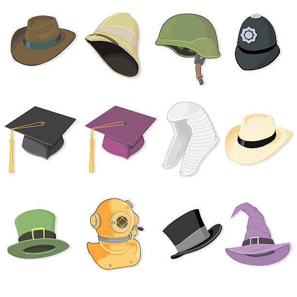 Hats A selection of hats and assorted head wear. uniform cap stock illustrations