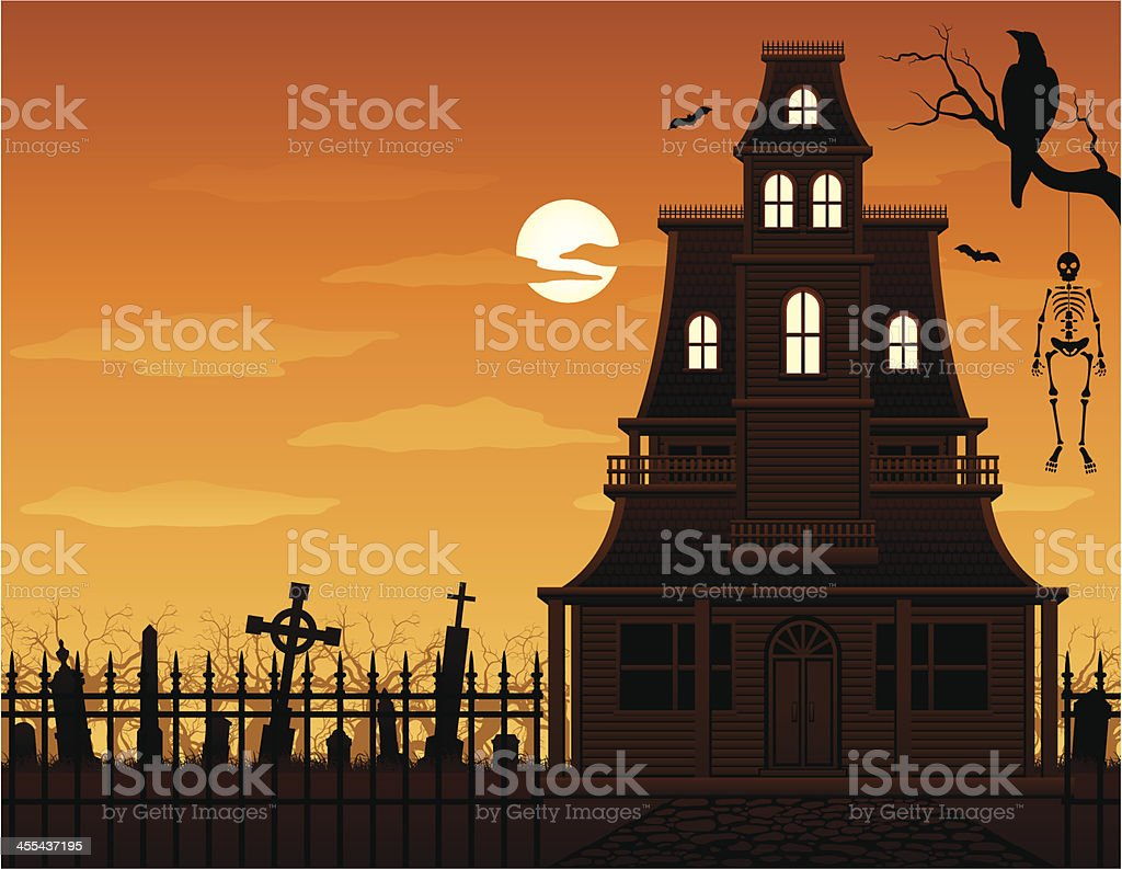 Haunted House and Cemetery vector art illustration