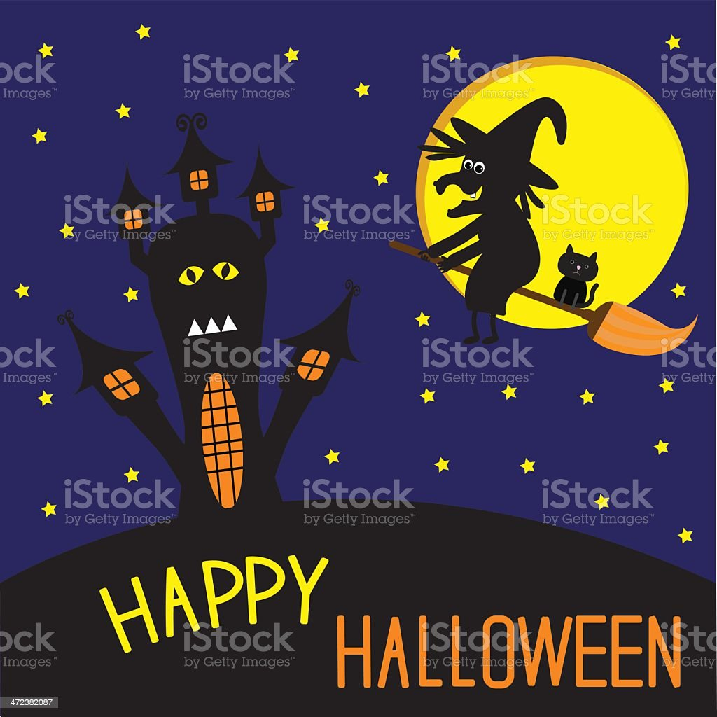Haunted house and flying witch with cat. Happy Halloween card. royalty-free stock vector art
