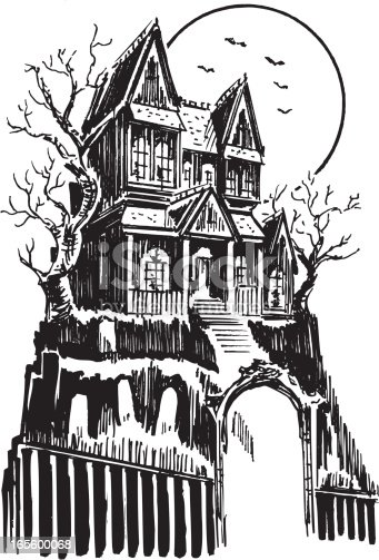 Mansion Drawing: Haunted House Halloween Stock Vector Art & More Images Of
