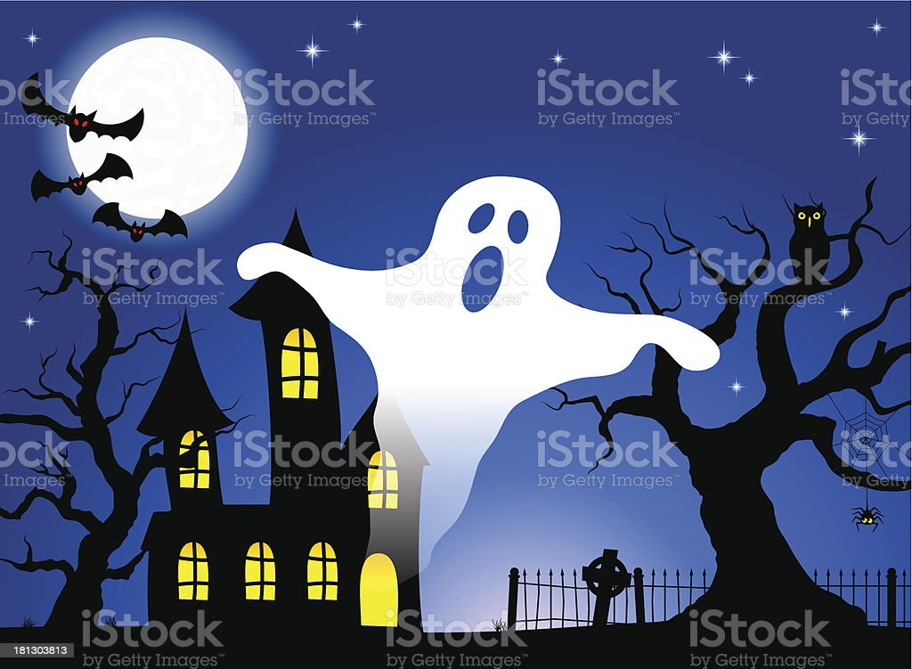 haunted house in a full moon night royalty-free stock vector art