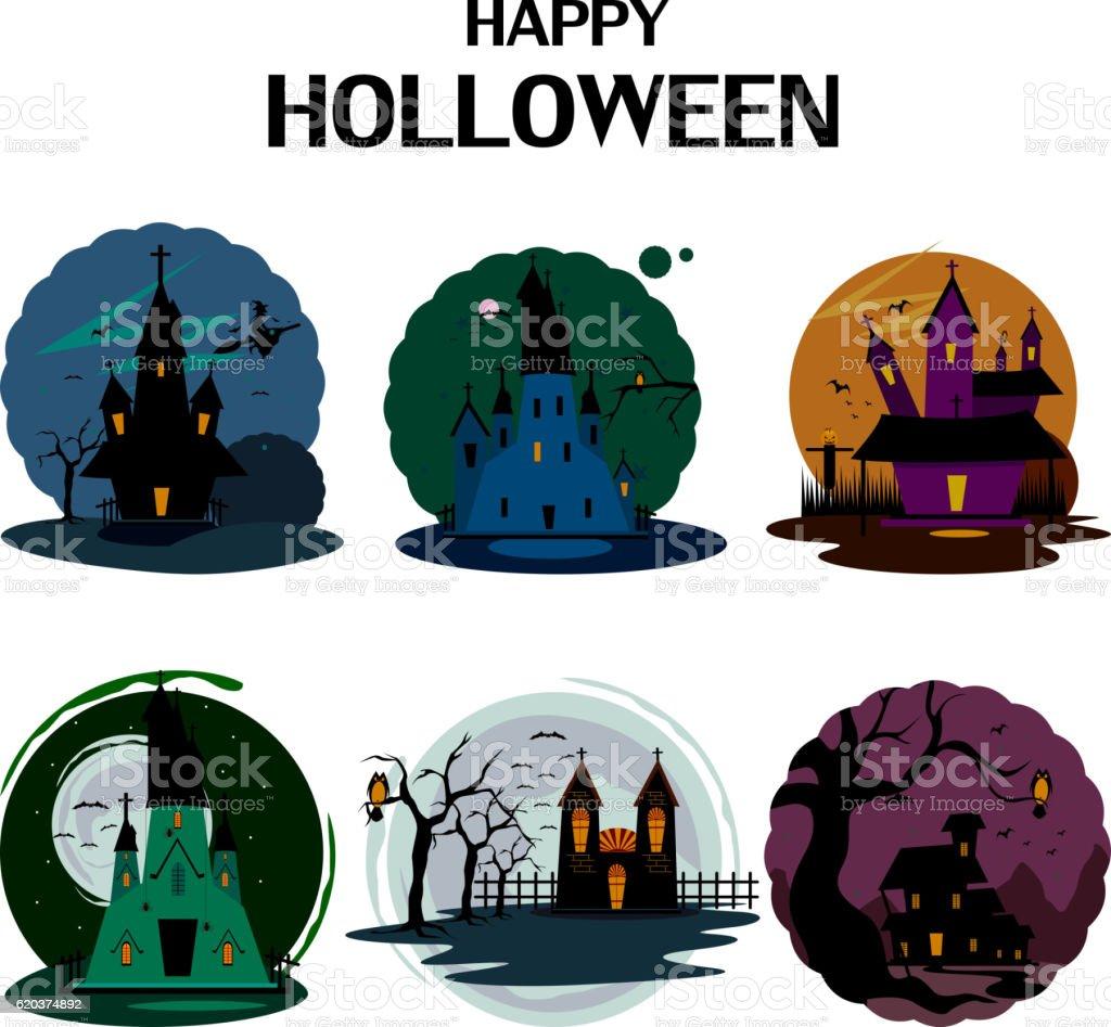 Haunted house in Halloween background haunted house in halloween background - arte vetorial de stock e mais imagens de abóbora-menina - cucúrbita royalty-free