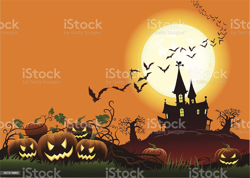 Haunted House in Moonlight royalty-free stock vector art