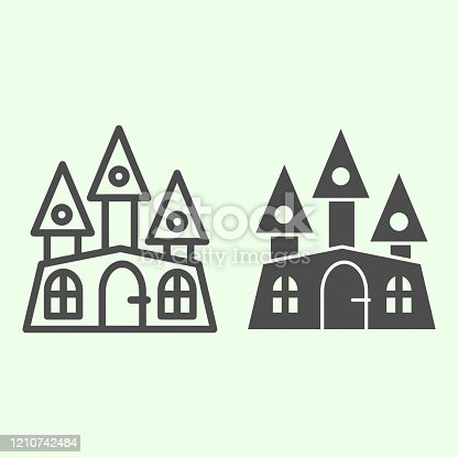Haunted house line and solid icon. Halloween mystical gothic building outline style pictogram on white background. Witch castle with three towers for mobile concept and web design. Vector graphics