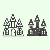 istock Haunted house line and solid icon. Halloween mystical gothic building outline style pictogram on white background. Witch castle with three towers for mobile concept and web design. Vector graphics. 1210742484