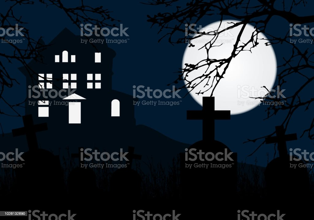 a haunted house on a hill above a graveyard with tombstones horror blue sky and