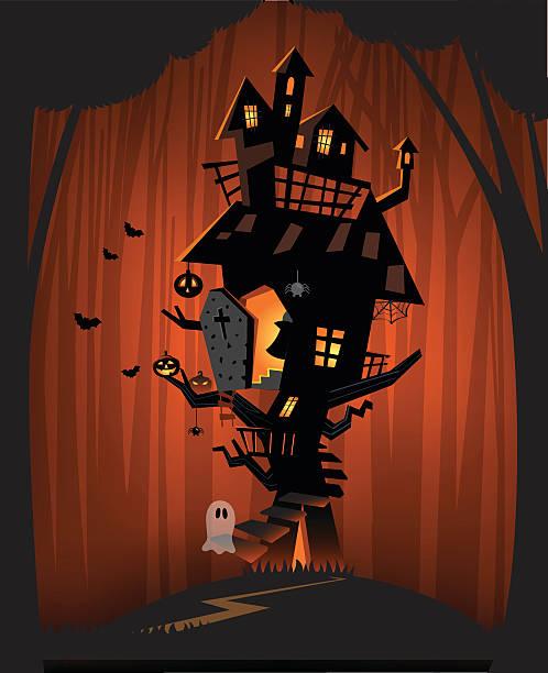 haunted house on halloween night a - geistergeschichten stock-grafiken, -clipart, -cartoons und -symbole
