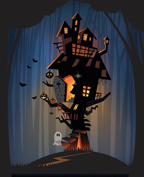 haunted house on halloween night - geistergeschichten stock-grafiken, -clipart, -cartoons und -symbole