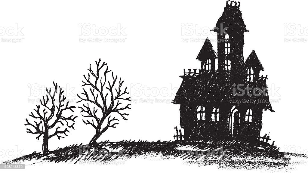 Haunted House Silhouette Royalty Free Stock Vector Art Amp More Images