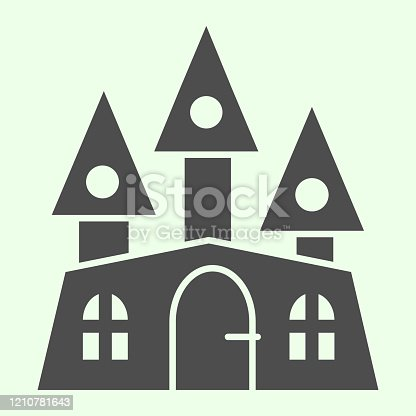 istock Haunted house solid icon. Halloween mystical gothic building glyph style pictogram on white background. Witch castle with three towers for mobile concept and web design. Vector graphics. 1210781643