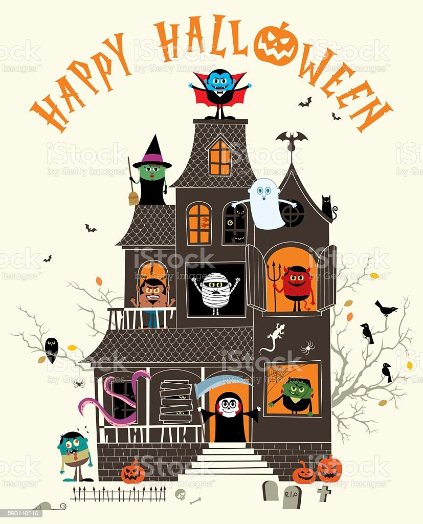 Haunted House vector art illustration