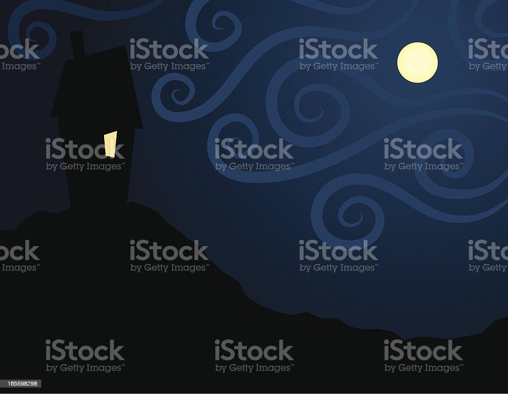 Casa embrujada con luna llena ilustración de casa embrujada con luna llena y más banco de imágenes de amarillo - color libre de derechos