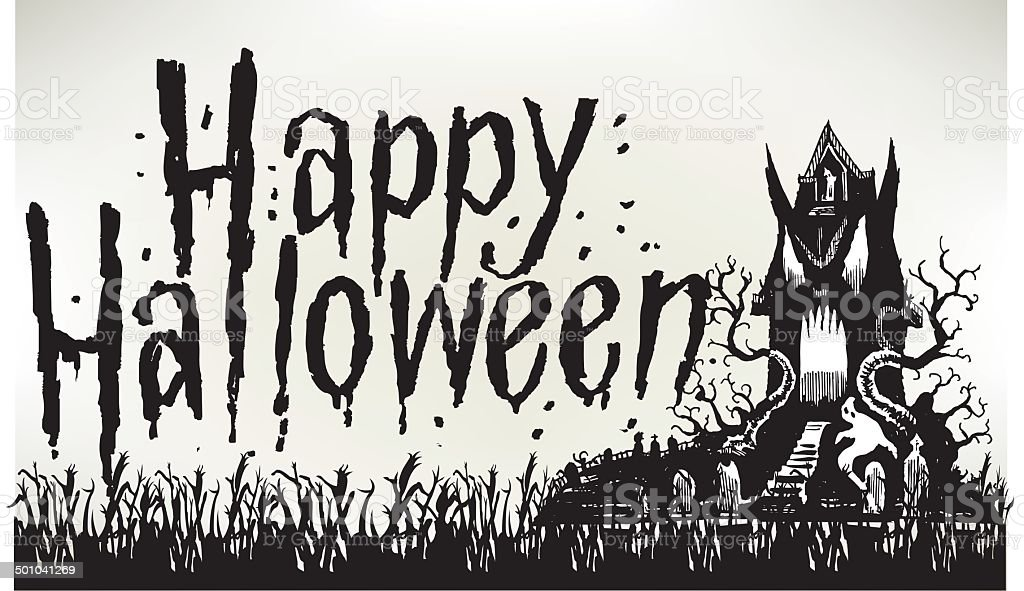 Haunted House with Happy Halloween royalty-free stock vector art