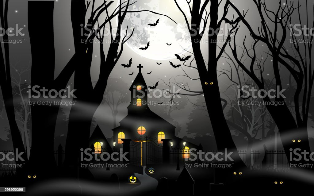 Haunted house with pumpkin in foggy forest in full moon vector art illustration