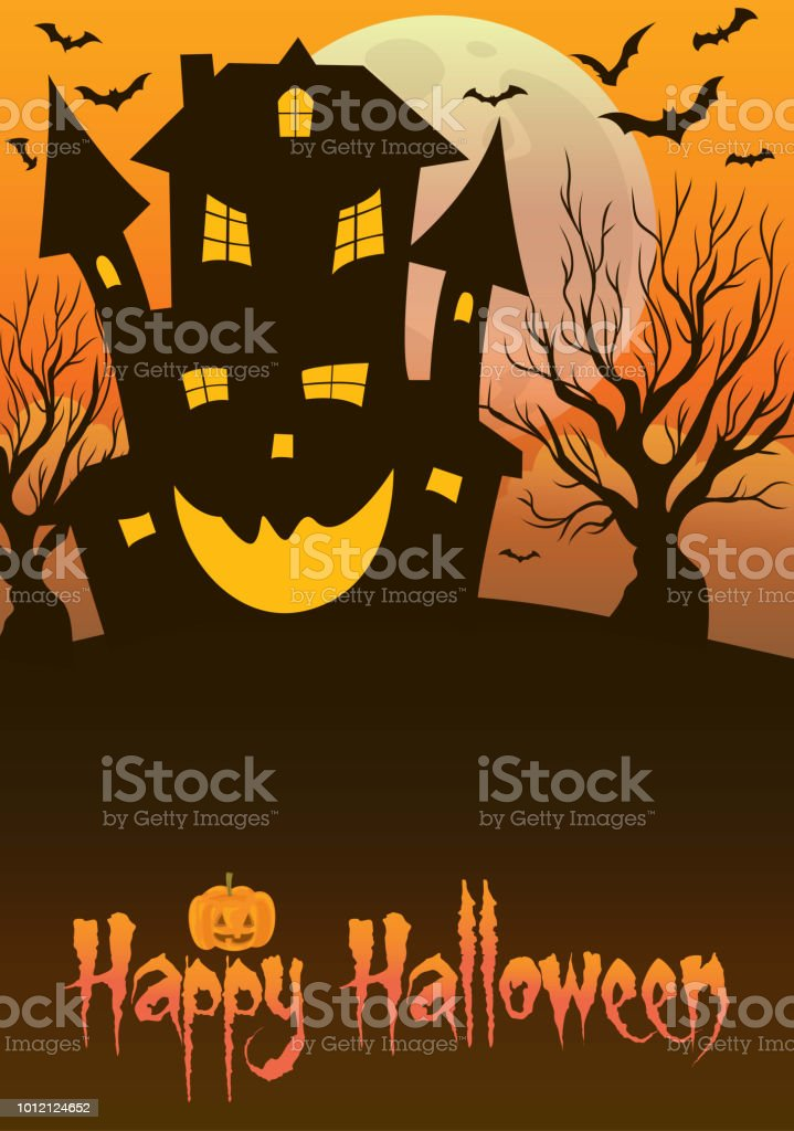 Haunted Mansion Halloween vector art illustration