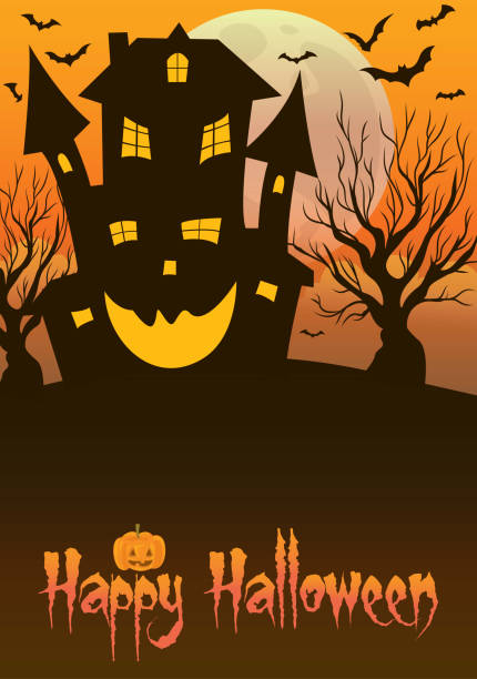 Haunted Mansion Halloween vector art illustration