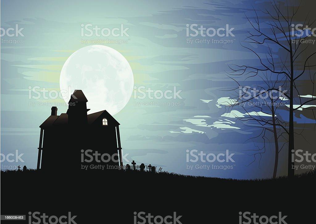 Haunted Mansion vector art illustration