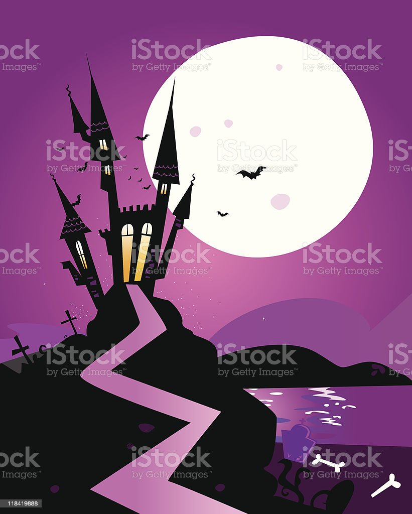 Haunted scary castle vector art illustration