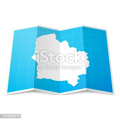 istock Hauts-de-France map folded, isolated on white background 1310952212