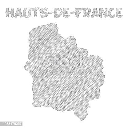 istock Hauts-de-France map hand drawn on white background 1288479057