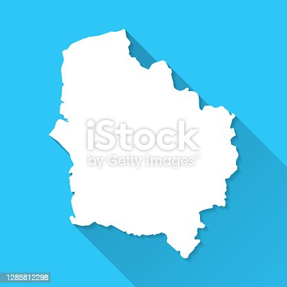 istock Hauts-de-France map with long shadow on blue background - Flat Design 1285812298
