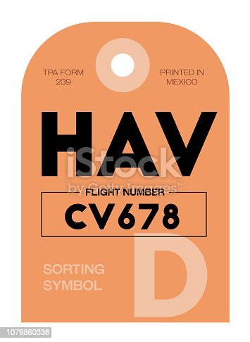 Havana realistically looking airport luggage tag illustration