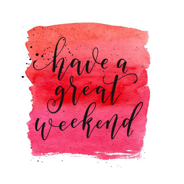 素晴らしい週末のテキストを持っています。グリーティング カード、ポスター、バナーのベクトル。ファッション赤い水彩形状。 - 週末の予定点のイラスト素材/クリップアート素材/マンガ素材/アイコン素材