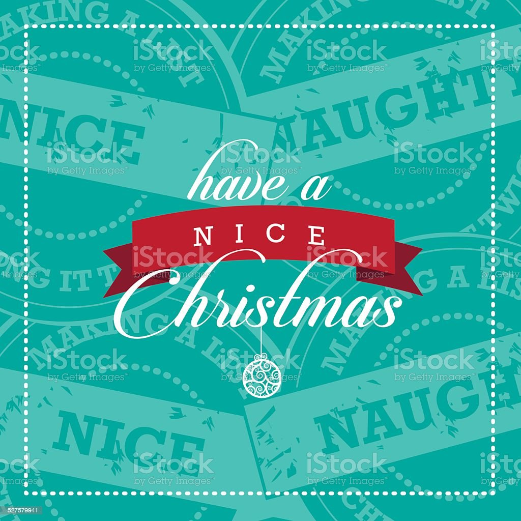 Have A Nice Christmas Card With Naughty And Nice Stamps Stock Vector ...