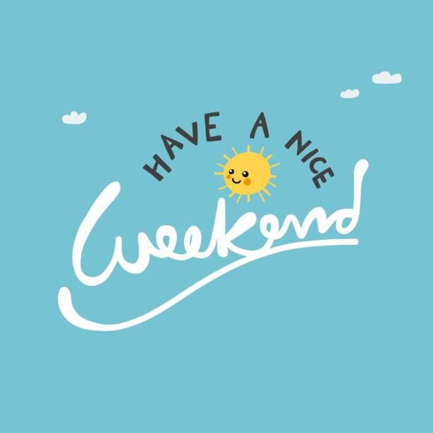 青い空に素敵な週末かわいい太陽ベクトルイラストを持っています - 週末の予定点のイラスト素材/クリップアート素材/マンガ素材/アイコン素材