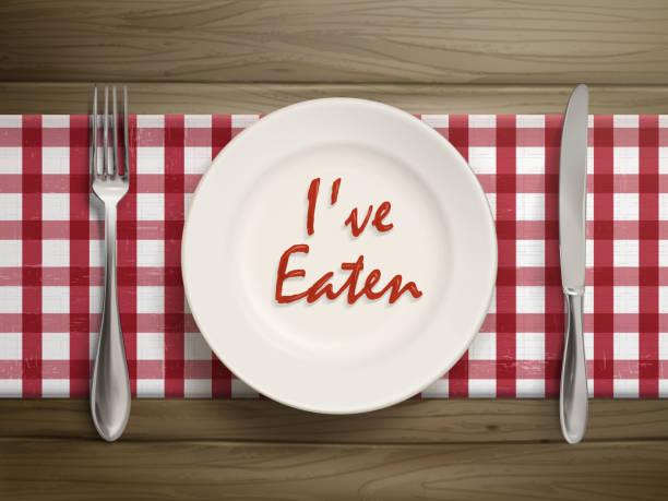 ich gegessen schriftliche mit ketchup auf einer platte - rankgitter stock-grafiken, -clipart, -cartoons und -symbole